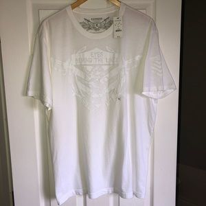 """EXPRESS T-shirt XL white """"EYES BEHIND THE LINES"""""""